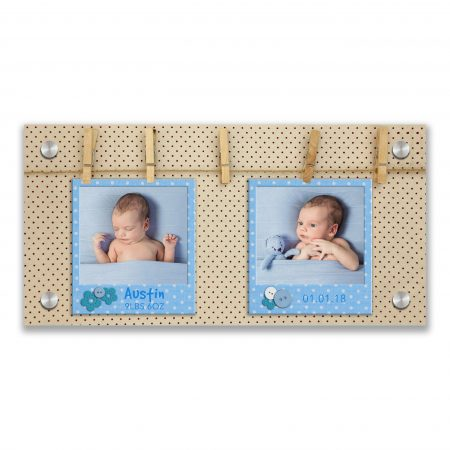 Blue photo frames hanging on a rope