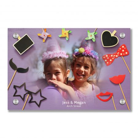 Top view of funny party paper accessories