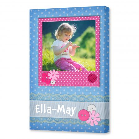 Photo frame on polka dot background