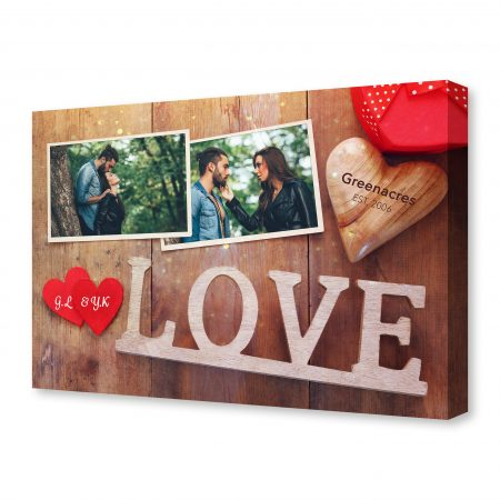 empty photo frames next word LOVE from wooden letters