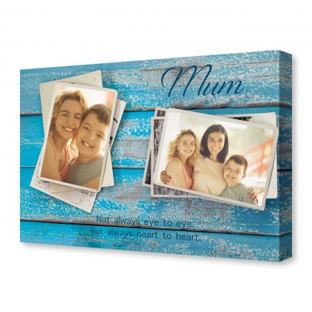 Blank photo frame album with flower on old blue wood background