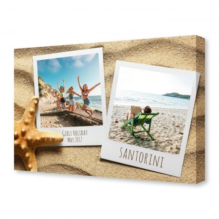 Old style empty photo card on sea sand sunny background