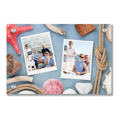 Travel photo frames on blue wooden texture