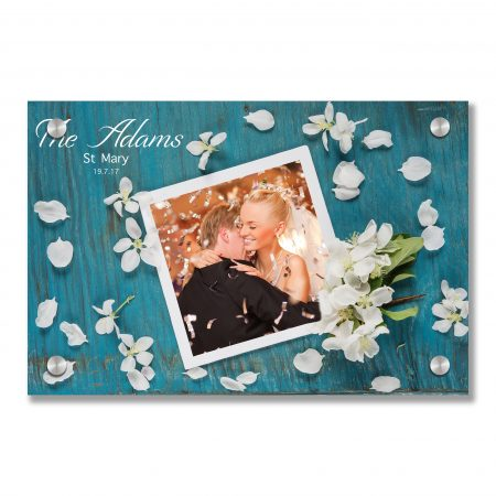 Beautiful greeting card with white apple blossom