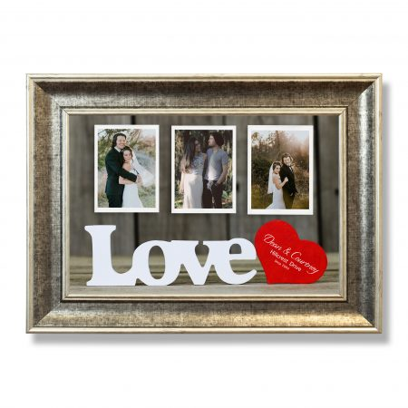 Wooden Love text with red heart