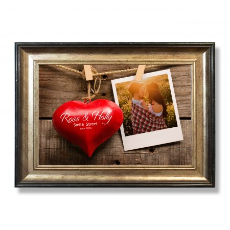 Red heart shape with old photo
