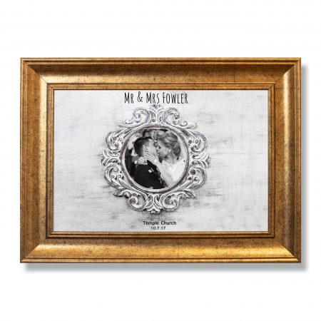 Rustic wooden round frame on grey background. Copy space, your t