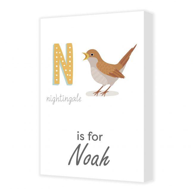 Alphabet N Personalised Canvas