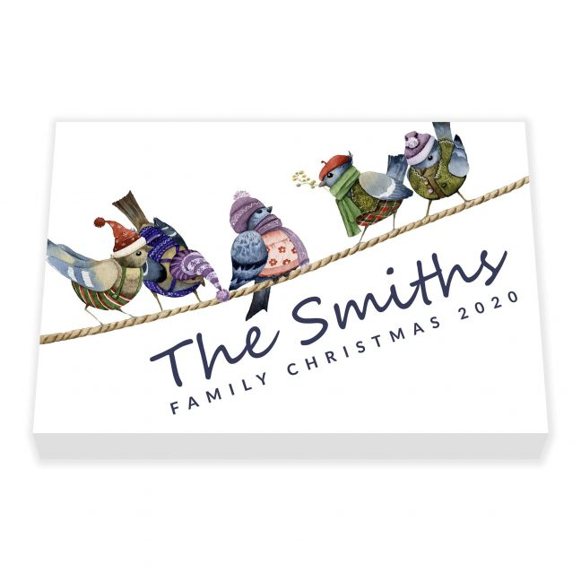 Bird Family Christmas Personalised Canvas